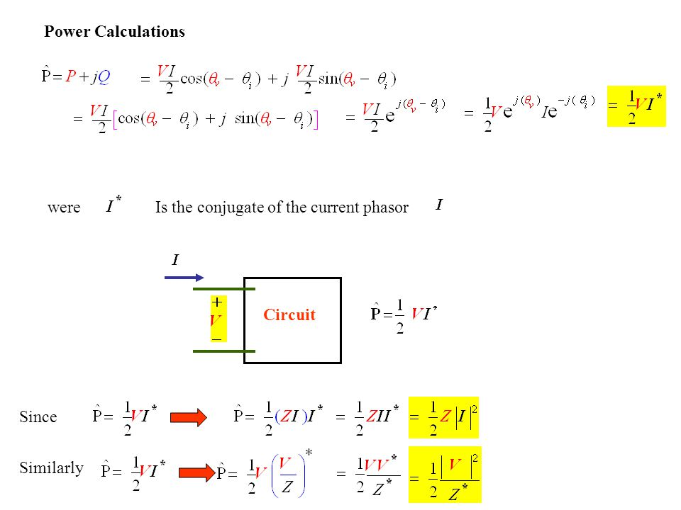 Power Calculations wereIs the conjugate of the current phasor Circuit Since Similarly