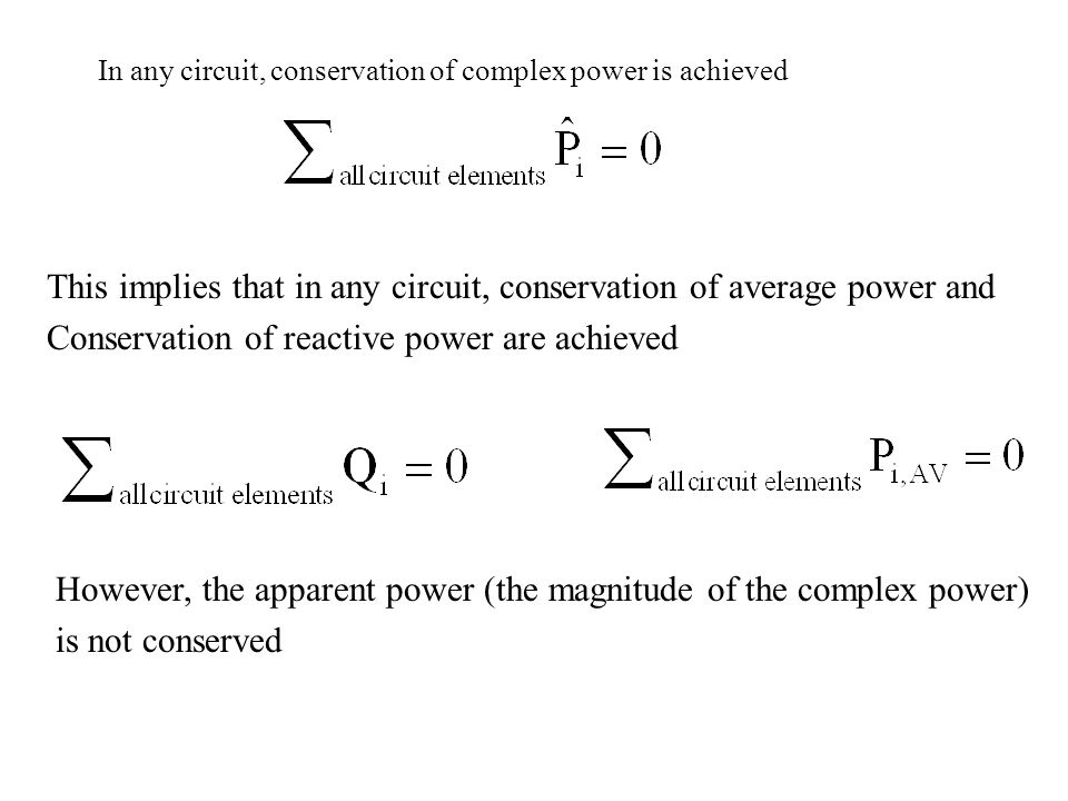 This implies that in any circuit, conservation of average power and Conservation of reactive power are achieved In any circuit, conservation of comple