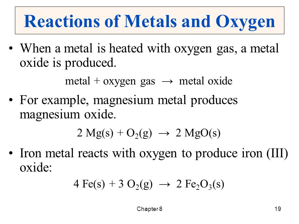 Chapter 820 Reactions of Nonmetals and Oxygen Oxygen and a nonmetal react to produce a nonmetal oxide.