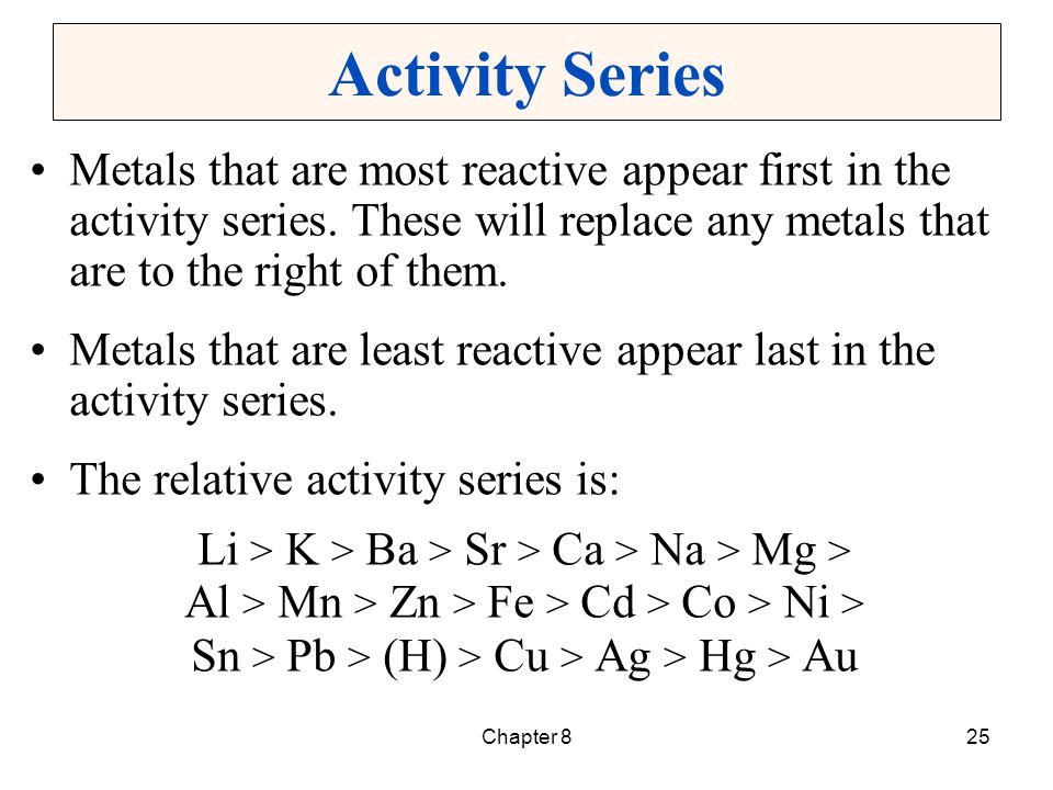 Chapter 825 Activity Series Metals that are most reactive appear first in the activity series. These will replace any metals that are to the right of