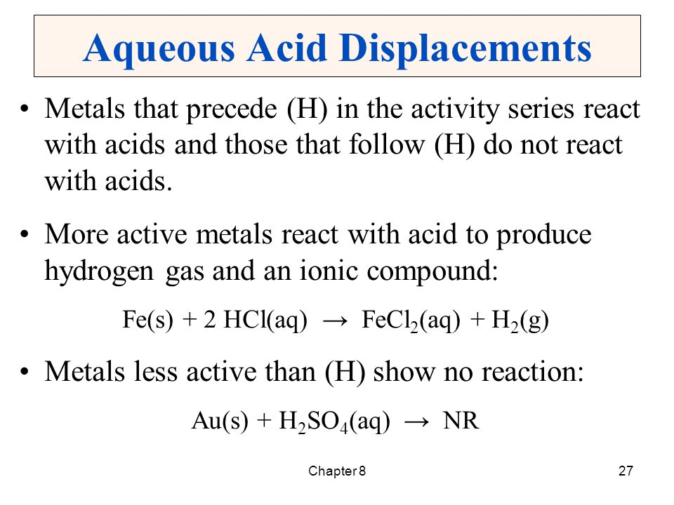 Chapter 828 Active Metals A few metals are active enough to react directly with water.