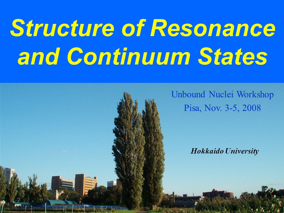 Structure of Resonance and Continuum States Hokkaido University Unbound Nuclei Workshop Pisa, Nov.
