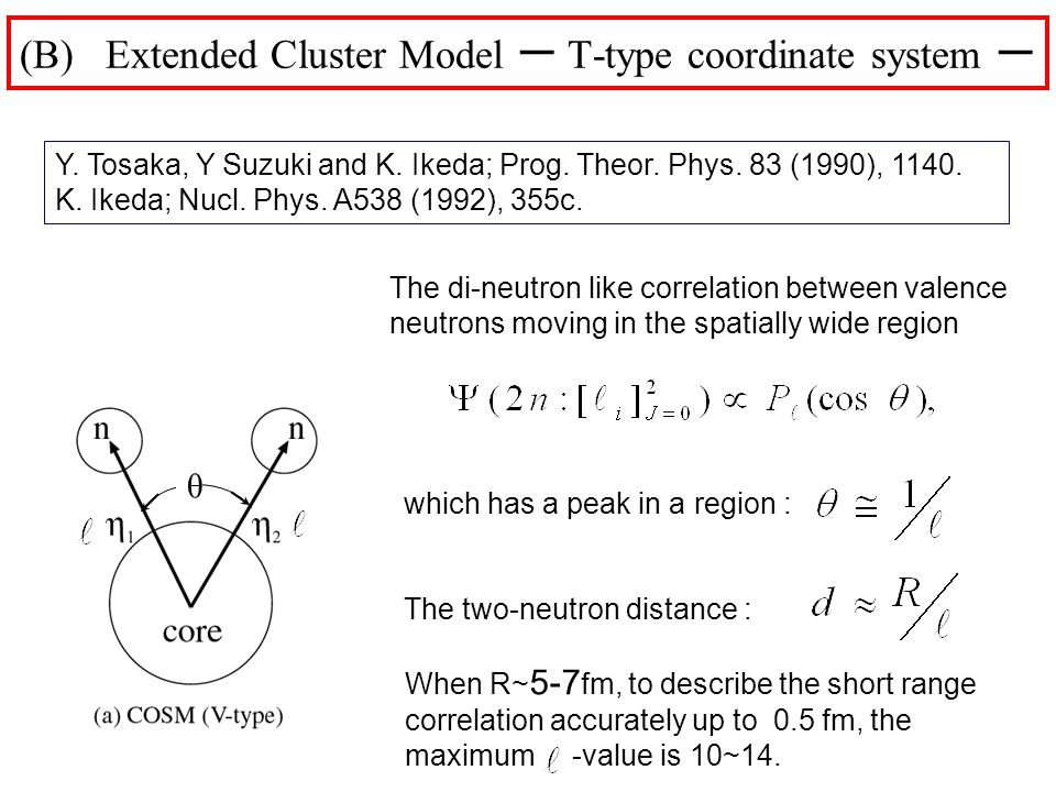 which has a peak in a region : The two-neutron distance : (B) Extended Cluster Model T-type coordinate system The di-neutron like correlation between valence neutrons moving in the spatially wide region Y.