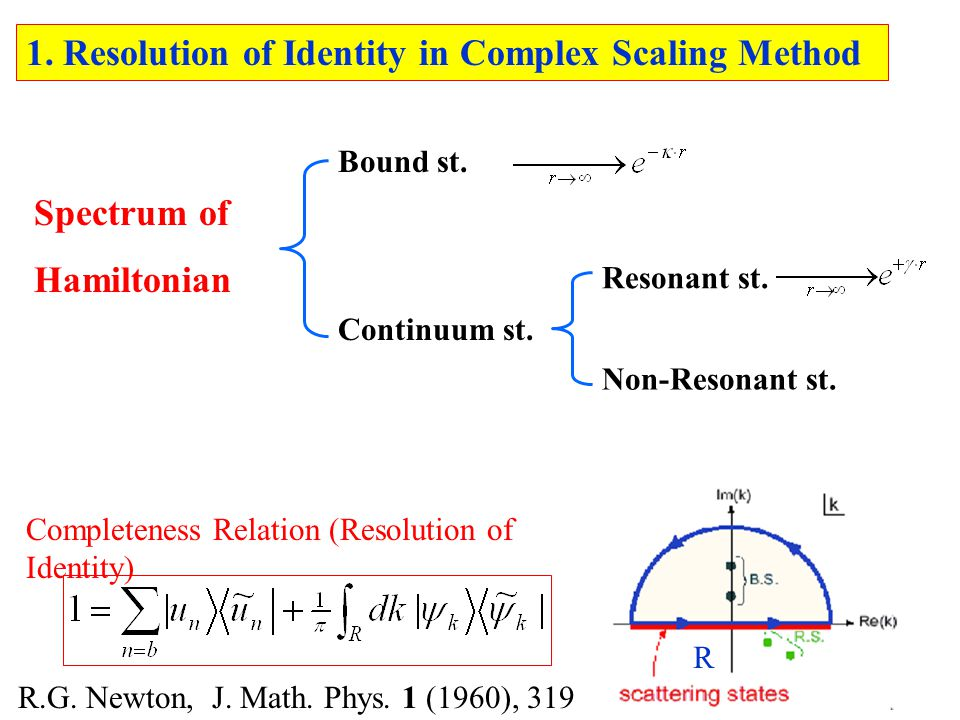 1. Resolution of Identity in Complex Scaling Method Continuum st.