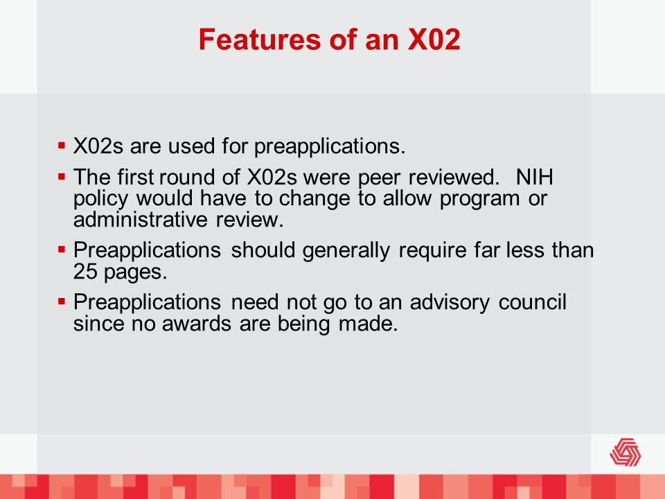 Features of an X02 X02s are used for preapplications.