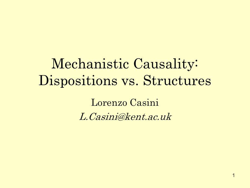 1 Mechanistic Causality: Dispositions vs. Structures Lorenzo Casini L.Casini@kent.ac.uk