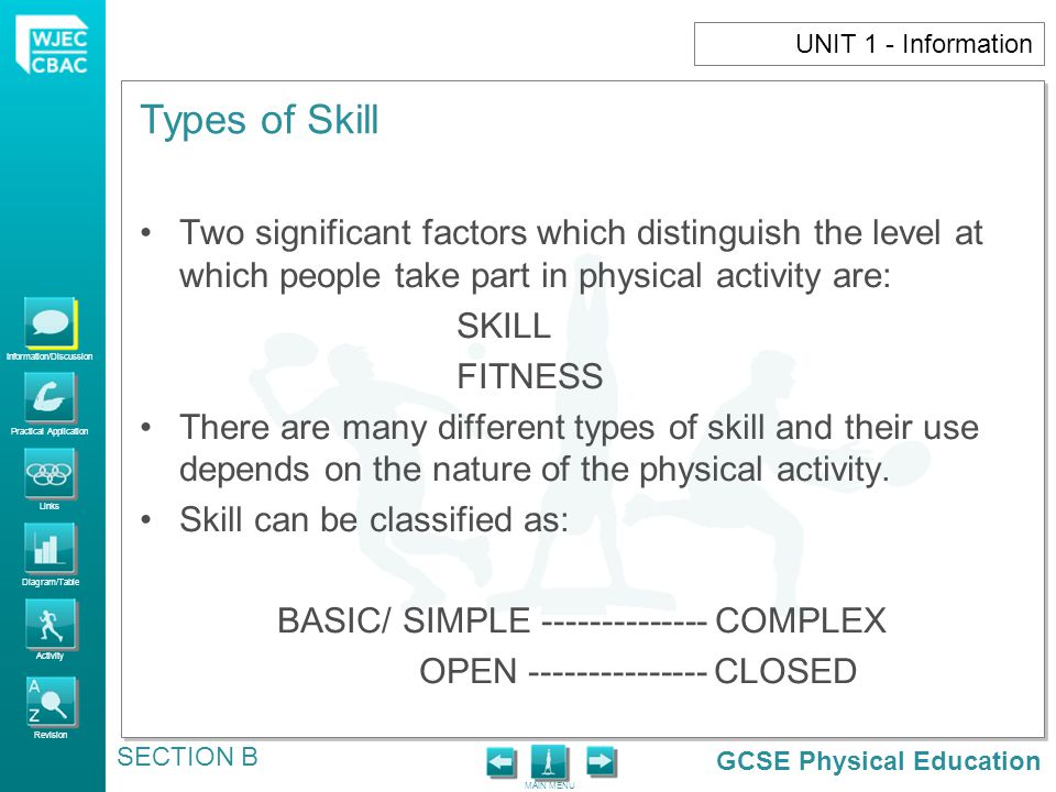 GCSE Physical Education Information/Discussion Practical Application Links Diagram/Table Activity Revision MAIN MENU Types of Skill SECTION B UNIT 1 - Information BASIC/SIMPLE COMPLEX CONTINUUM BASIC/ SIMPLE SKILLS COMPLEX SKILLS RUNNING DOUBLE SOMERSAULT IN DIVING BASIC MOVEMENT PATTERNS LIMITED AMOUNT OF INFORMATION TO PROCESS AND A SMALLER COGNITIVE ELEMENT INVOLVE MORE DECISION – MAKING BIGGER COGNITIVE ELEMENT (MORE THOUGHT)