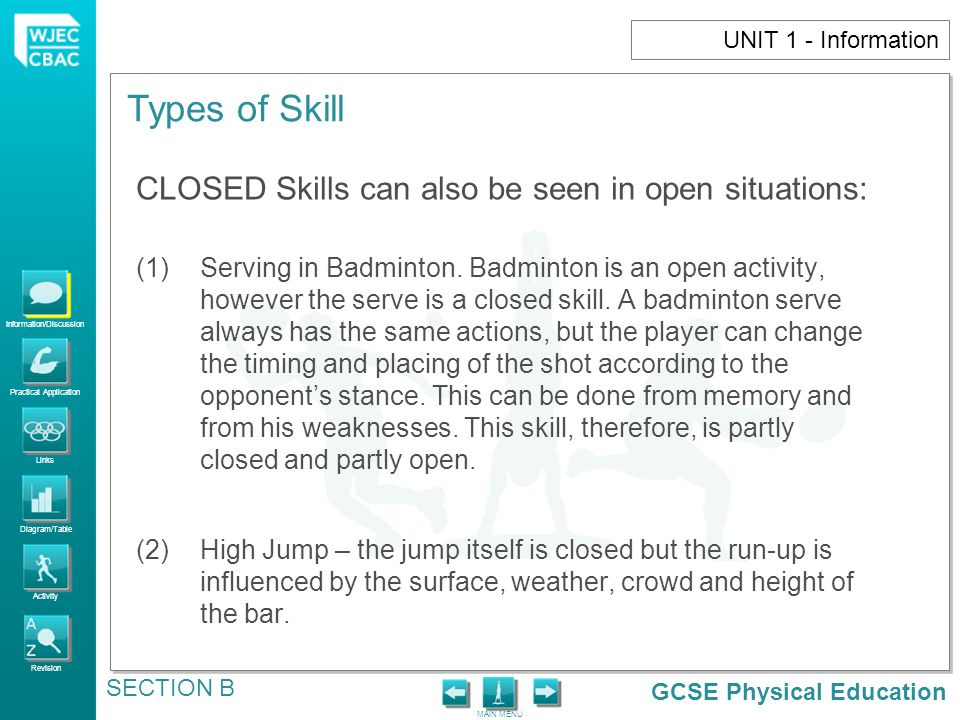 GCSE Physical Education Information/Discussion Practical Application Links Diagram/Table Activity Revision MAIN MENU Types of Skill SECTION B 1.Group taking part in Basic and Complex skills: e.g.
