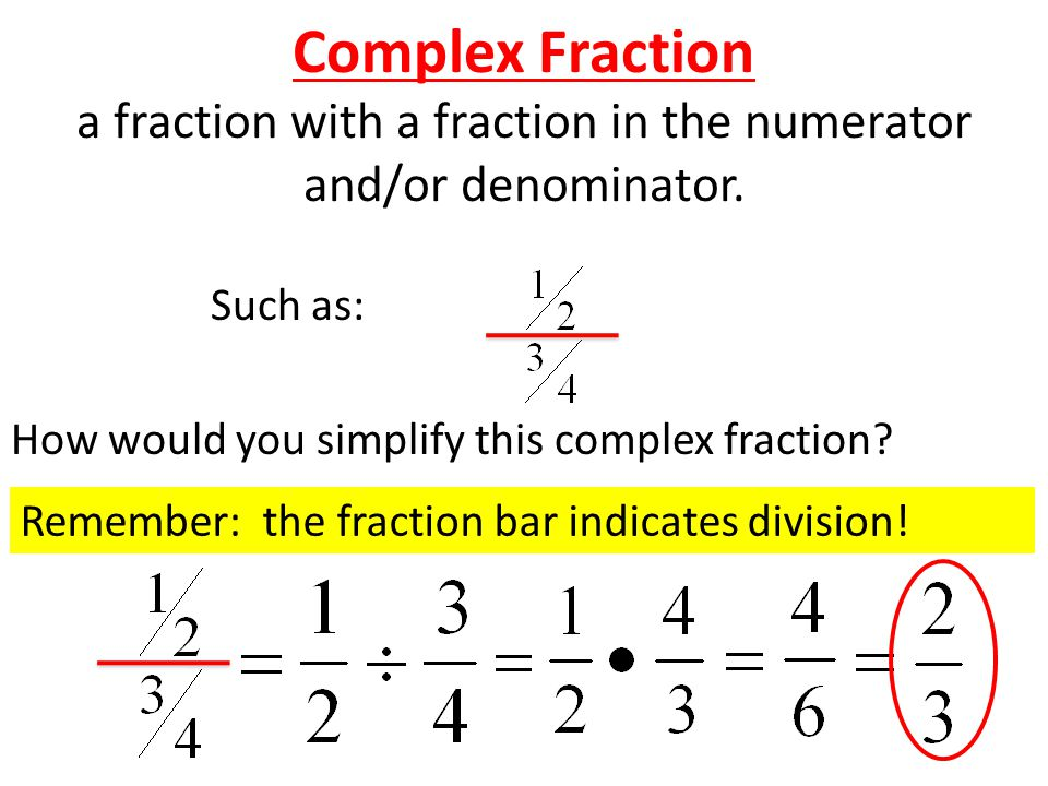 Complex Fraction a fraction with a fraction in the numerator and/or denominator.