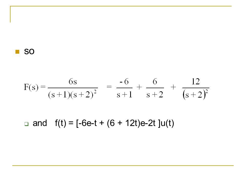 so and f(t) = [-6e-t + (6 + 12t)e-2t ]u(t)