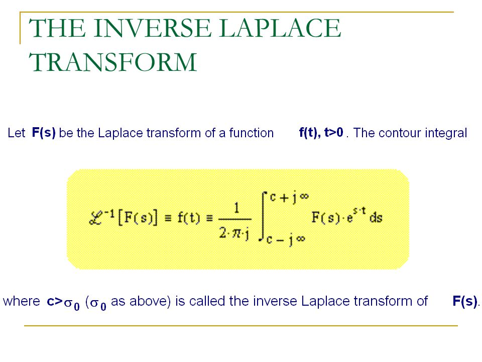 THE INVERSE LAPLACE TRANSFORM