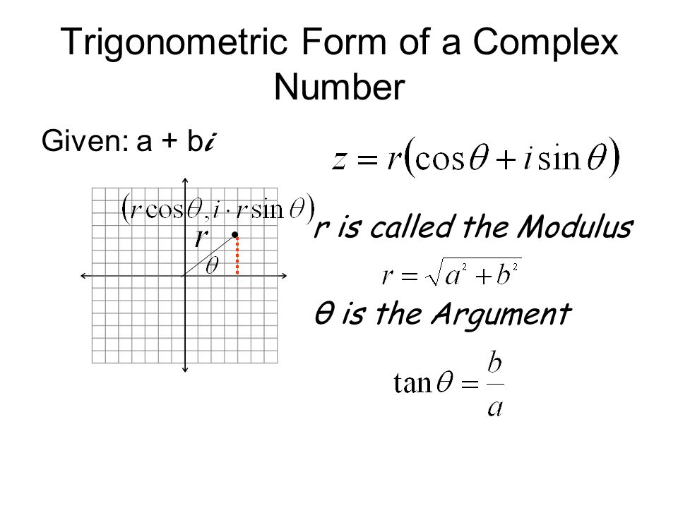 Trigonometric Form of a Complex Number Given: a + b i r is called the Modulus θ is the Argument