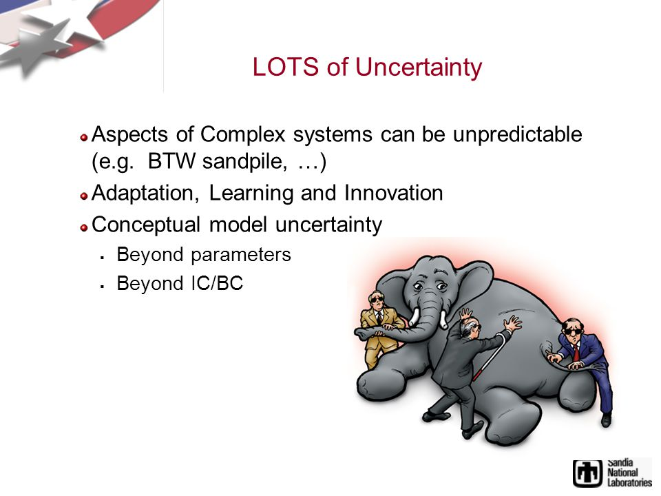 LOTS of Uncertainty Aspects of Complex systems can be unpredictable (e.g.