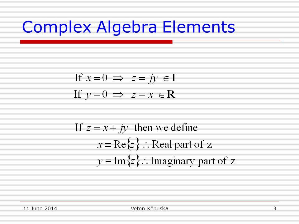 11 June 2014Veton Këpuska14 Multiplication/Division of Complex Numbers