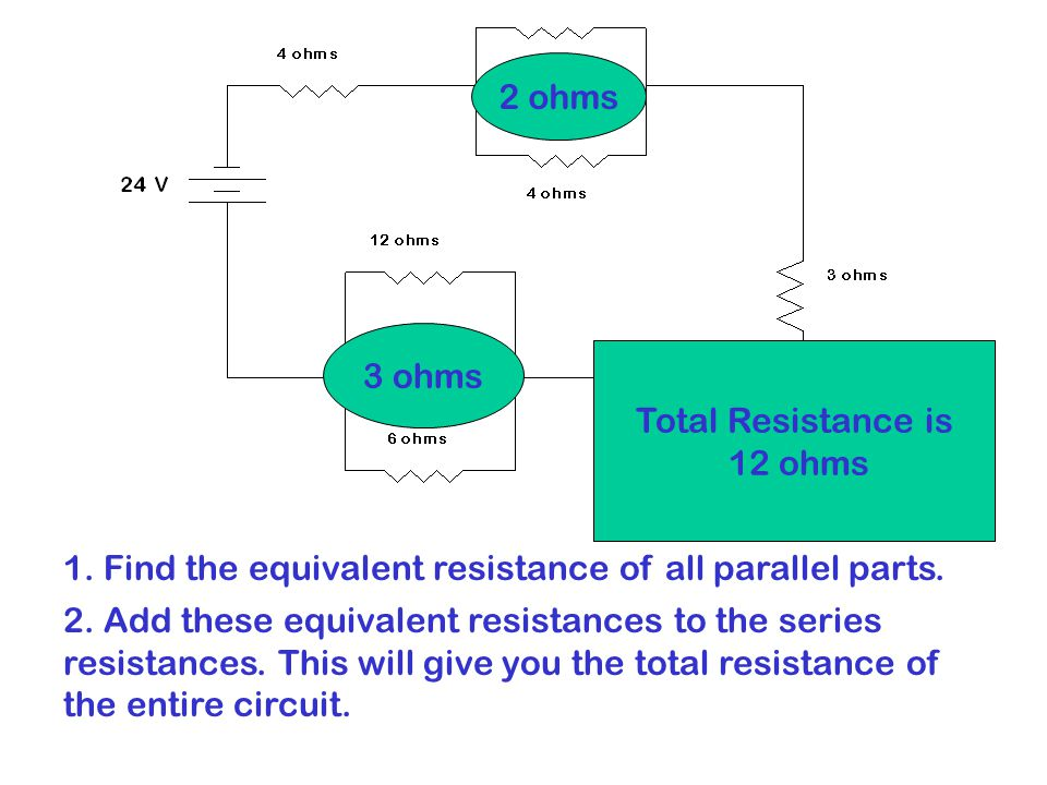 1. Find the equivalent resistance of all parallel parts.