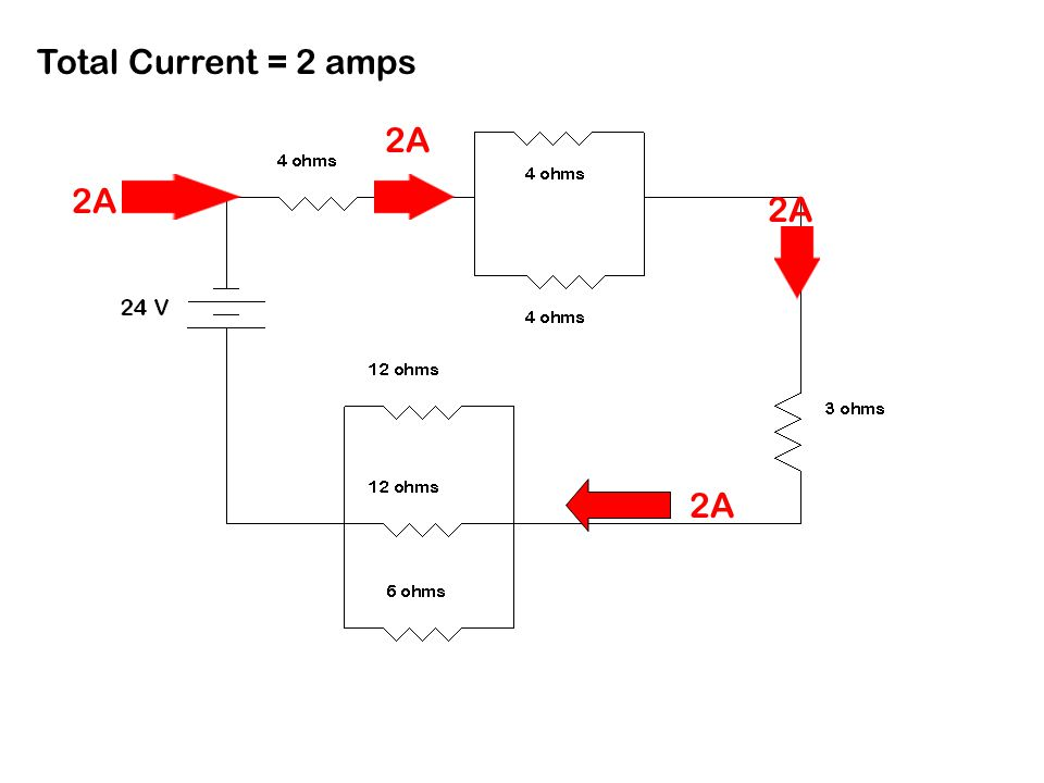 Total Current = 2 amps 2A