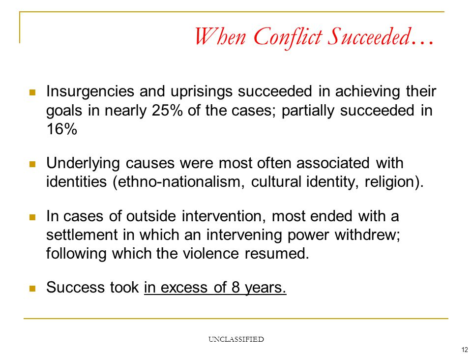 UNCLASSIFIED 12 When Conflict Succeeded… Insurgencies and uprisings succeeded in achieving their goals in nearly 25% of the cases; partially succeeded