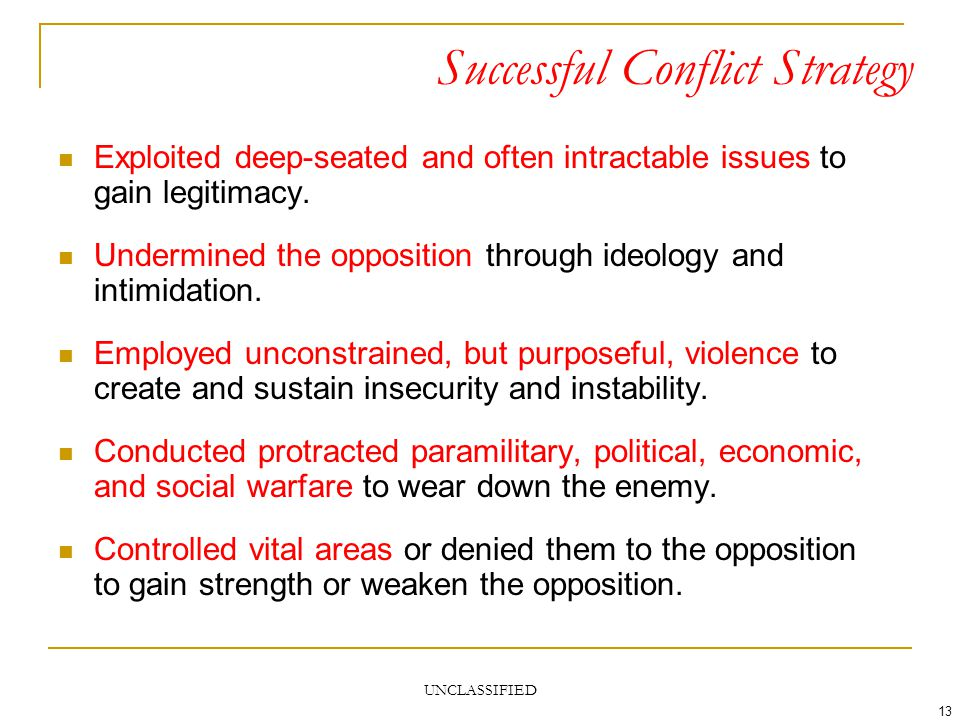 UNCLASSIFIED 13 Successful Conflict Strategy Exploited deep-seated and often intractable issues to gain legitimacy. Undermined the opposition through