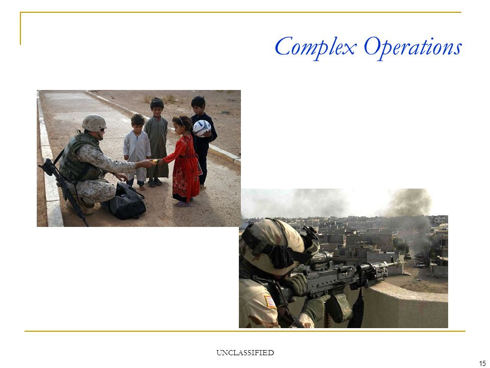 UNCLASSIFIED 15 Complex Operations