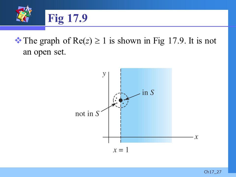 Ch17_27 Fig 17.9 The graph of Re(z) 1 is shown in Fig 17.9. It is not an open set.