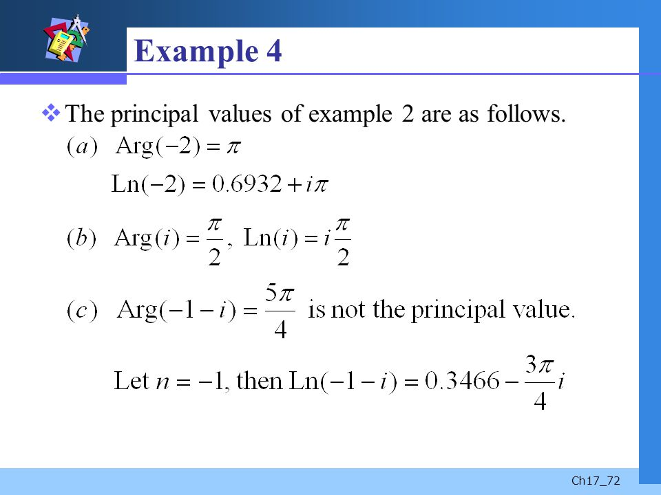 Ch17_72 Example 4 The principal values of example 2 are as follows.