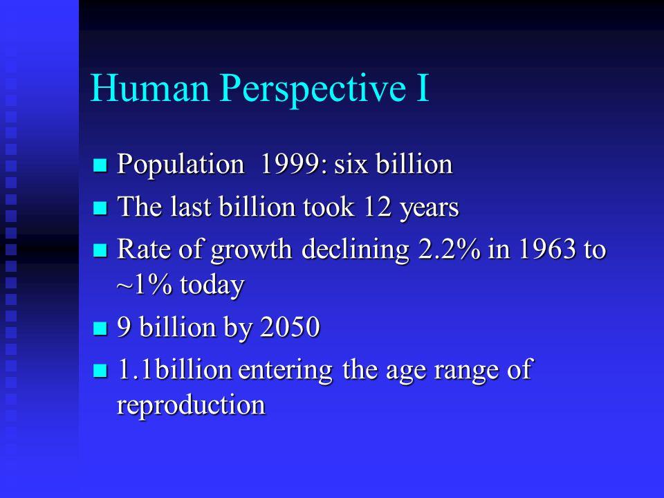 Human Perspective I Population 1999: six billion Population 1999: six billion The last billion took 12 years The last billion took 12 years Rate of growth declining 2.2% in 1963 to ~1% today Rate of growth declining 2.2% in 1963 to ~1% today 9 billion by 2050 9 billion by 2050 1.1billion entering the age range of reproduction 1.1billion entering the age range of reproduction