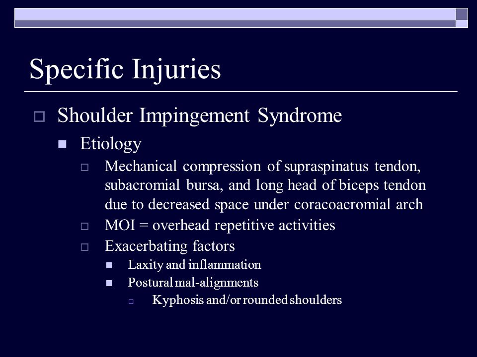 Shoulder Impingement Syndrome Etiology Mechanical compression of supraspinatus tendon, subacromial bursa, and long head of biceps tendon due to decrea