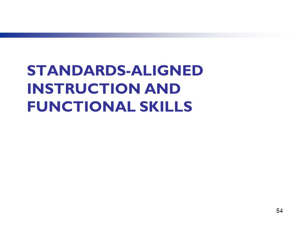 STANDARDS-ALIGNED INSTRUCTION AND FUNCTIONAL SKILLS 54