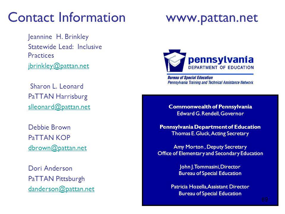Contact Information www.pattan.net Jeannine H.