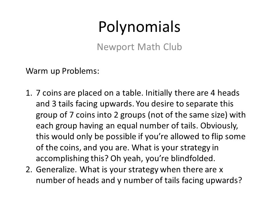 What is a polynomial.with nonnegative integer n Question.