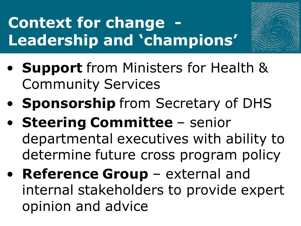 Context for change - Sponsors The MACN Initiative involves: Department of Human Services Mental Health Disability Services Drug and Alcohol Services Child Protection Juvenile Justice Housing and Support Department of Justice