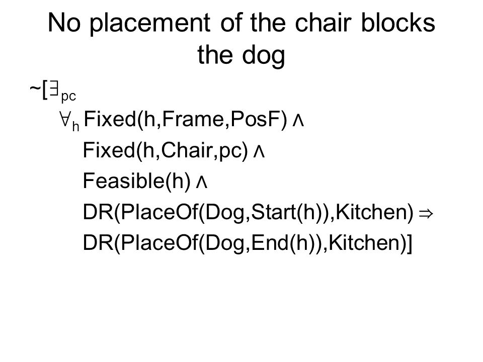 No placement of the chair blocks the dog [ pc h Fixed(h,Frame,PosF) Fixed(h,Chair,pc) Feasible(h) DR(PlaceOf(Dog,Start(h)),Kitchen) DR(PlaceOf(Dog,End(h)),Kitchen)]