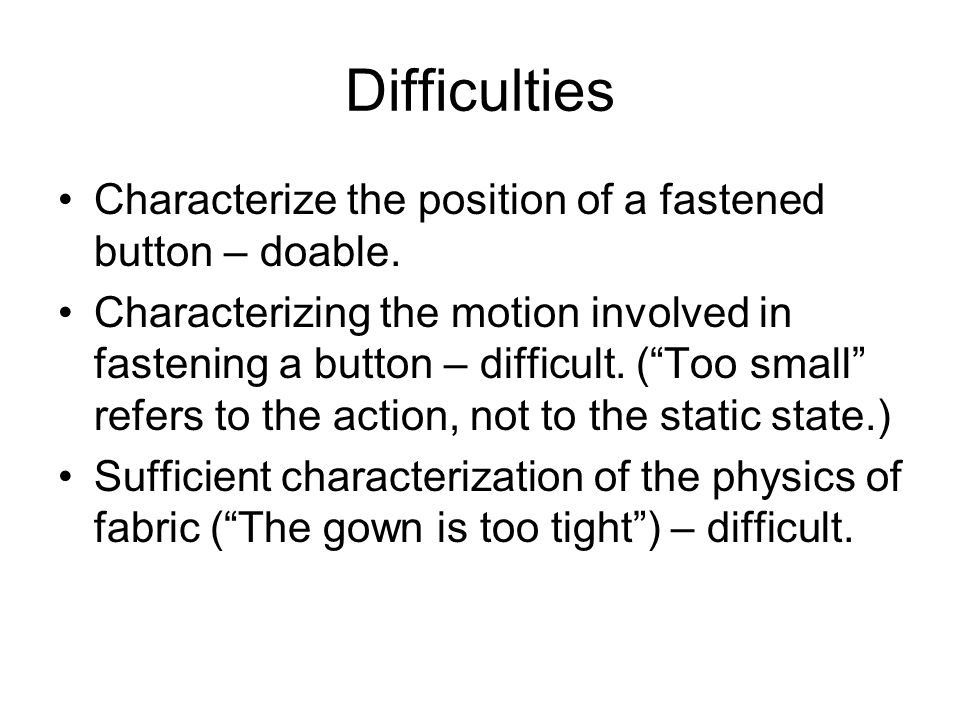 Difficulties Characterize the position of a fastened button – doable.