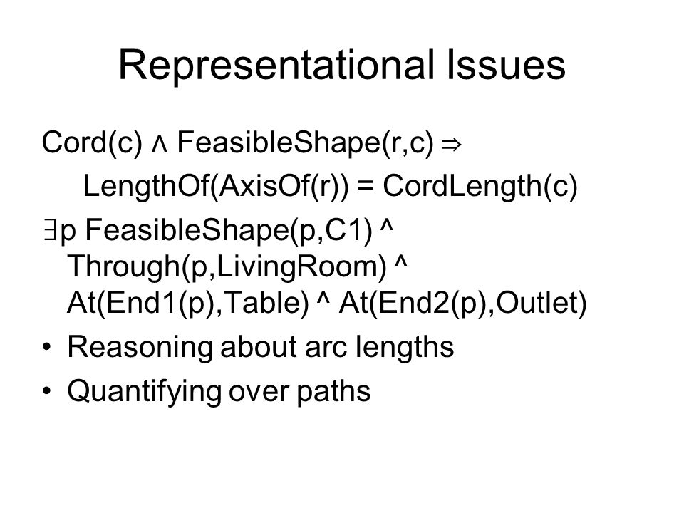 Representational Issues Cord(c) FeasibleShape(r,c) LengthOf(AxisOf(r)) = CordLength(c) p FeasibleShape(p,C1) ^ Through(p,LivingRoom) ^ At(End1(p),Table) ^ At(End2(p),Outlet) Reasoning about arc lengths Quantifying over paths