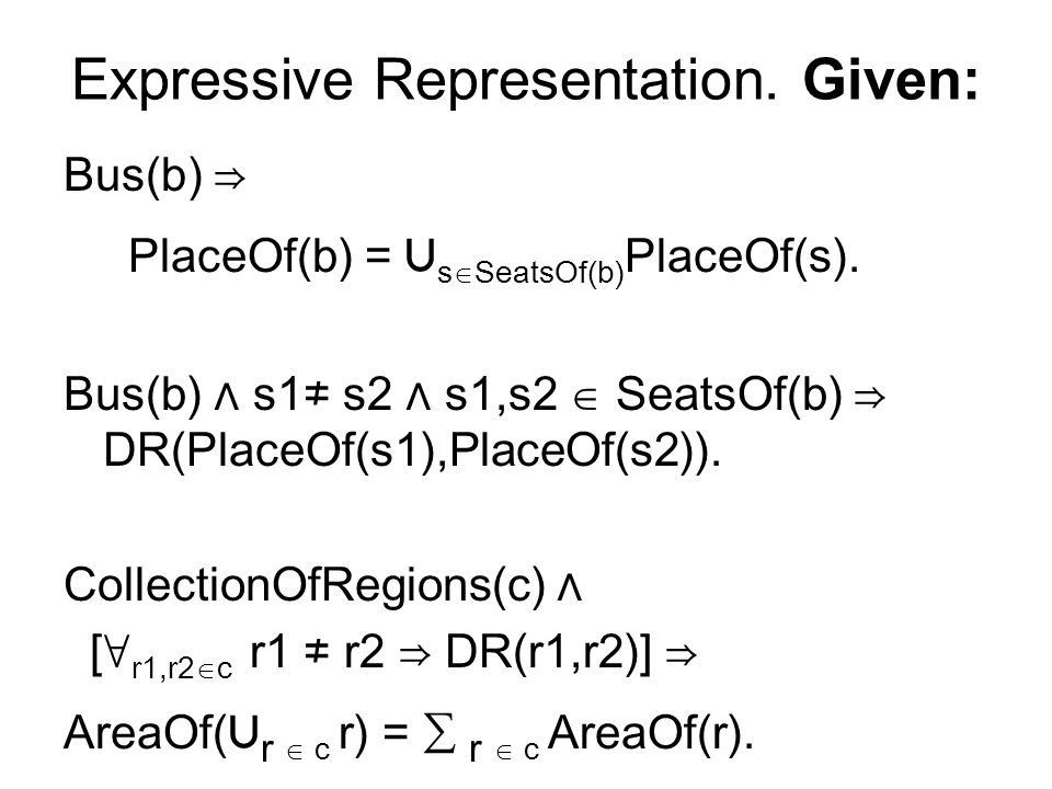 Expressive Representation. Given: Bus(b) PlaceOf(b) = s SeatsOf(b) PlaceOf(s).