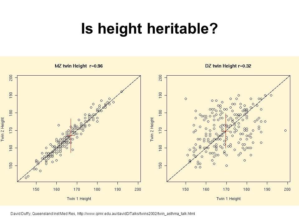 David Duffy, Queensland Inst Med Res, http://www.qimr.edu.au/davidD/Talks/twins2002/twin_asthma_talk.html Is height heritable?
