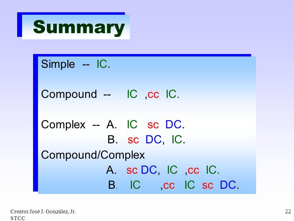 Creator José J. González, Jr. STCC 22 Summary Simple -- IC. Compound -- IC,cc IC. Complex -- A. IC sc DC. B. sc DC, IC. Compound/Complex A. sc DC, IC,