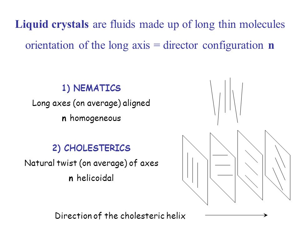 Liquid crystals are fluids made up of long thin molecules orientation of the long axis = director configuration n 1) NEMATICS Long axes (on average) aligned n homogeneous 2) CHOLESTERICS Natural twist (on average) of axes n helicoidal Direction of the cholesteric helix