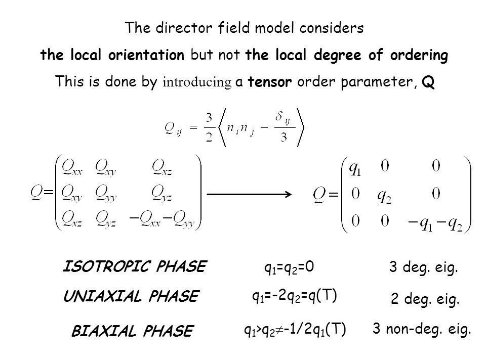 The director field model considers the local orientation but not the local degree of ordering This is done by introducing a tensor order parameter, Q ISOTROPIC PHASE UNIAXIAL PHASE BIAXIAL PHASE q 1 =q 2 =0 q 1 =-2q 2 =q(T) q 1 >q 2 -1/2q 1 (T) 3 deg.