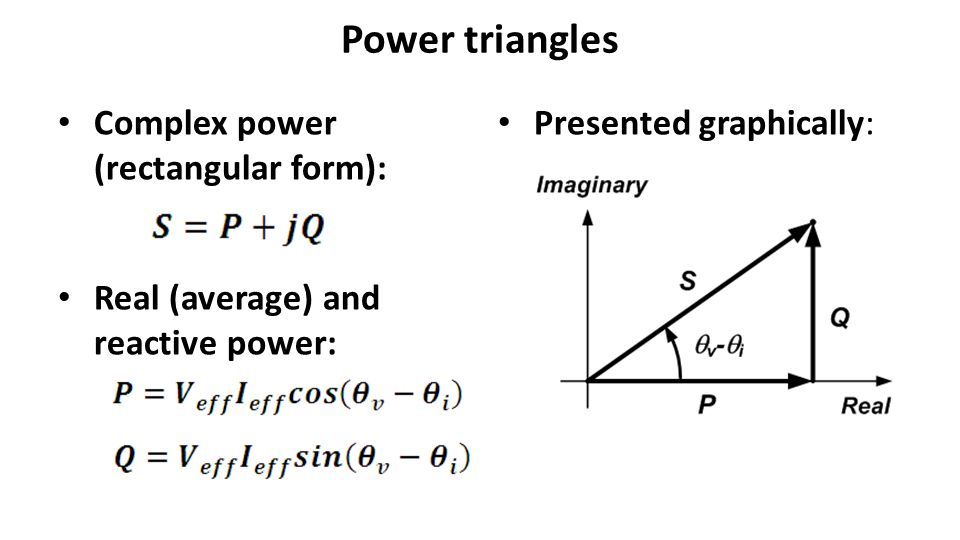 Power triangles Complex power (rectangular form): Real (average) and reactive power: Presented graphically:
