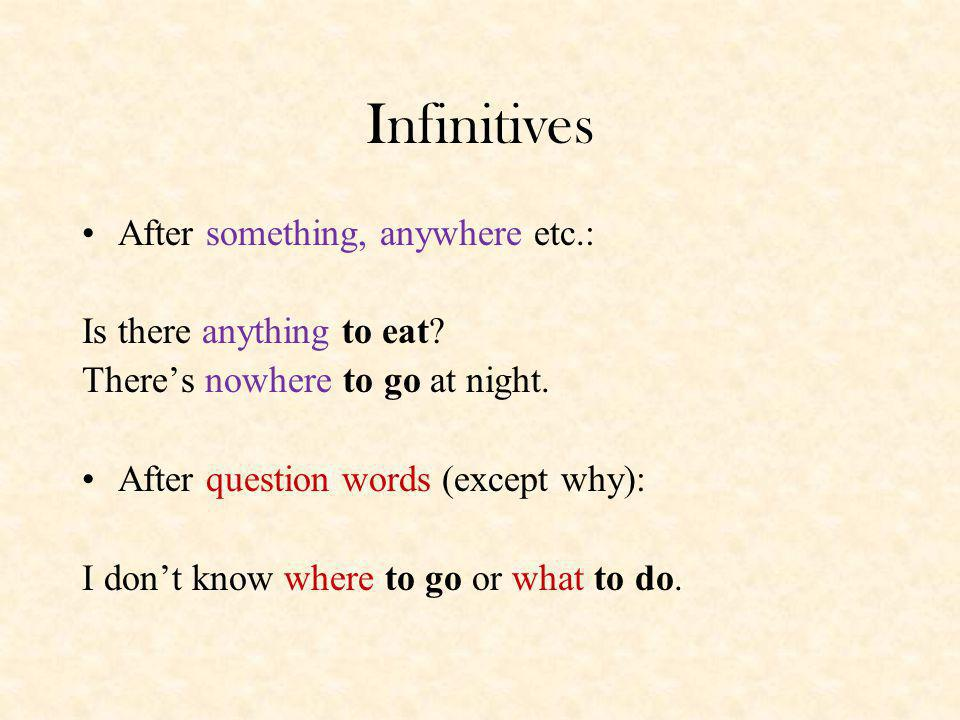Infinitives After something, anywhere etc.: Is there anything to eat.