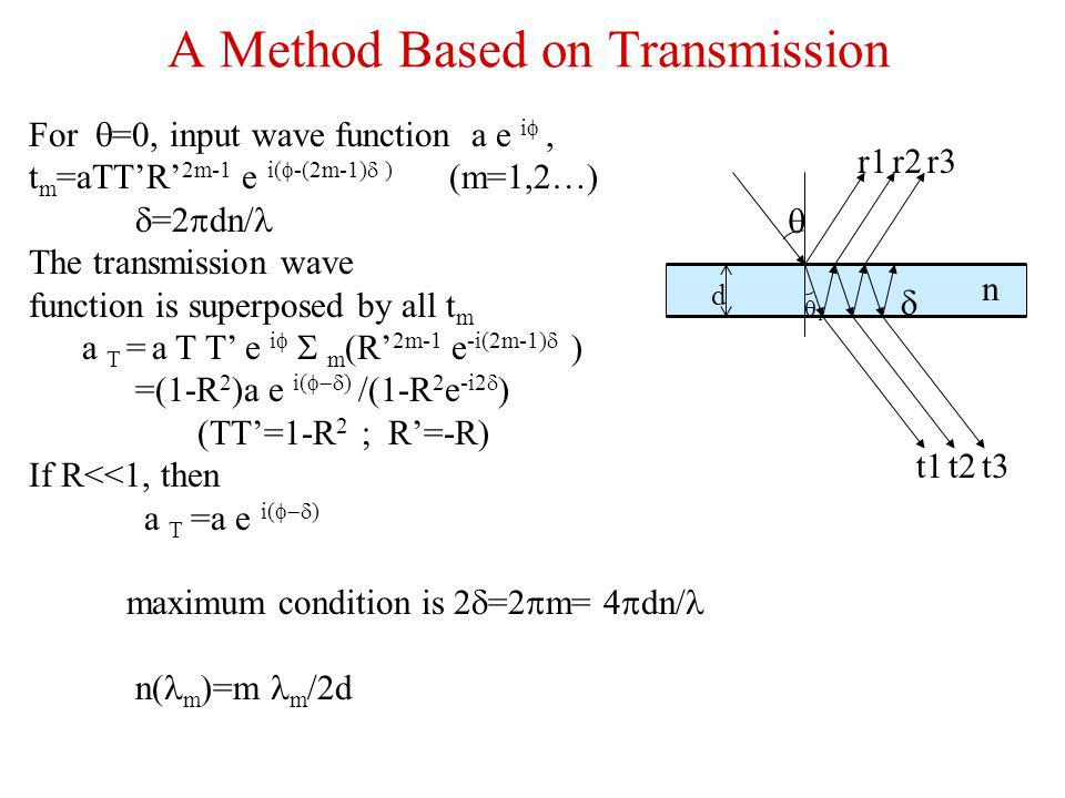 For =0, input wave function a e i t m =aTTR 2m-1 e i( -(2m-1) ) (m=1,2…) =2 dn/ The transmission wave function is superposed by all t m a T = a T T e i m (R 2m-1 e -i(2m-1) ) =(1-R 2 )a e i( ) /(1-R 2 e -i2 ) (TT=1-R 2 ; R=-R) If R<<1, then a T =a e i( ) maximum condition is 2 =2 m= 4 dn/ n( m =m m /2d d t1t2t3 r1r2r3 n A Method Based on Transmission