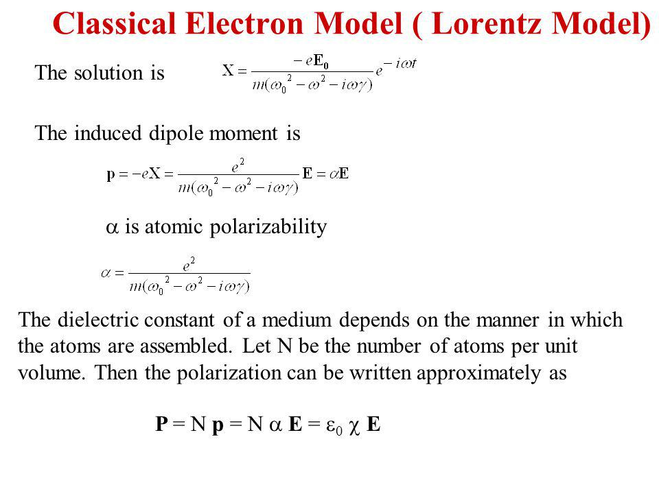 The solution is The induced dipole moment is is atomic polarizability The dielectric constant of a medium depends on the manner in which the atoms are assembled.