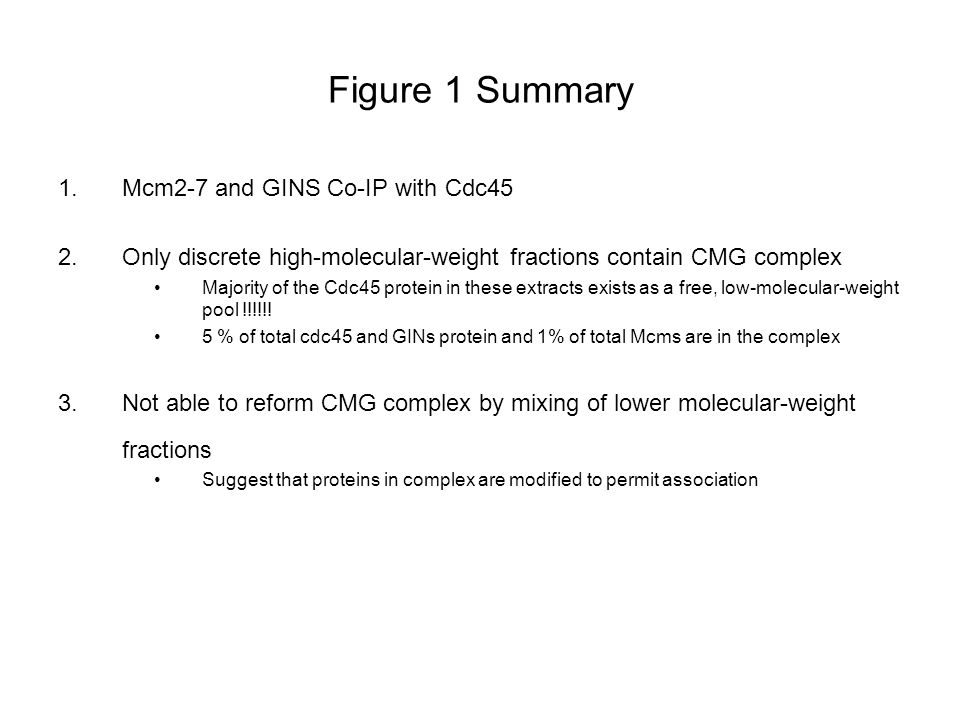 Figure 1 Summary 1.Mcm2-7 and GINS Co-IP with Cdc45 2.Only discrete high-molecular-weight fractions contain CMG complex Majority of the Cdc45 protein