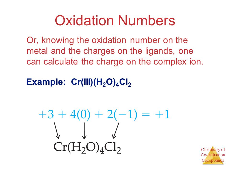 Chemistry of Coordination Compounds Oxidation Numbers Or, knowing the oxidation number on the metal and the charges on the ligands, one can calculate