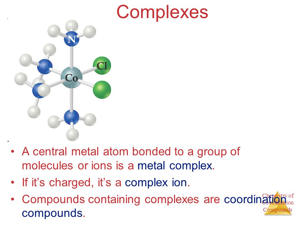 Chemistry of Coordination Compounds Complexes A central metal atom bonded to a group of molecules or ions is a metal complex. If its charged, its a co