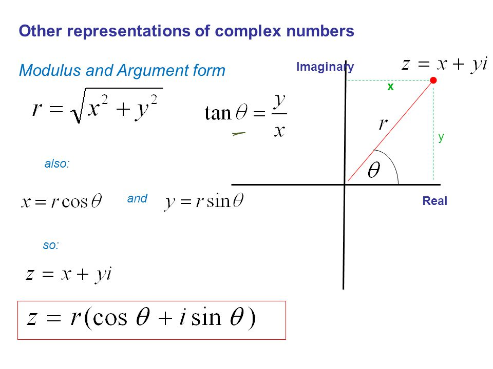 Imaginary Real y x Other representations of complex numbers Modulus and Argument form also: and so:
