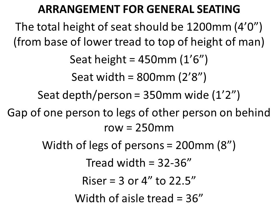 ARRANGEMENT FOR GENERAL SEATING The total height of seat should be 1200mm (40) (from base of lower tread to top of height of man) Seat height = 450mm