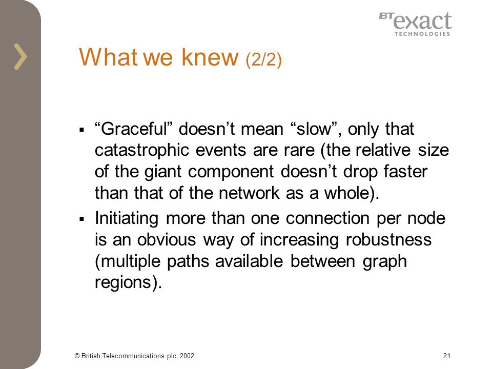 © British Telecommunications plc, 200221 What we knew (2/2) Graceful doesnt mean slow, only that catastrophic events are rare (the relative size of the giant component doesnt drop faster than that of the network as a whole).