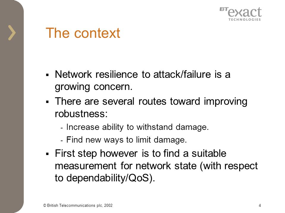 © British Telecommunications plc, 20024 The context Network resilience to attack/failure is a growing concern.